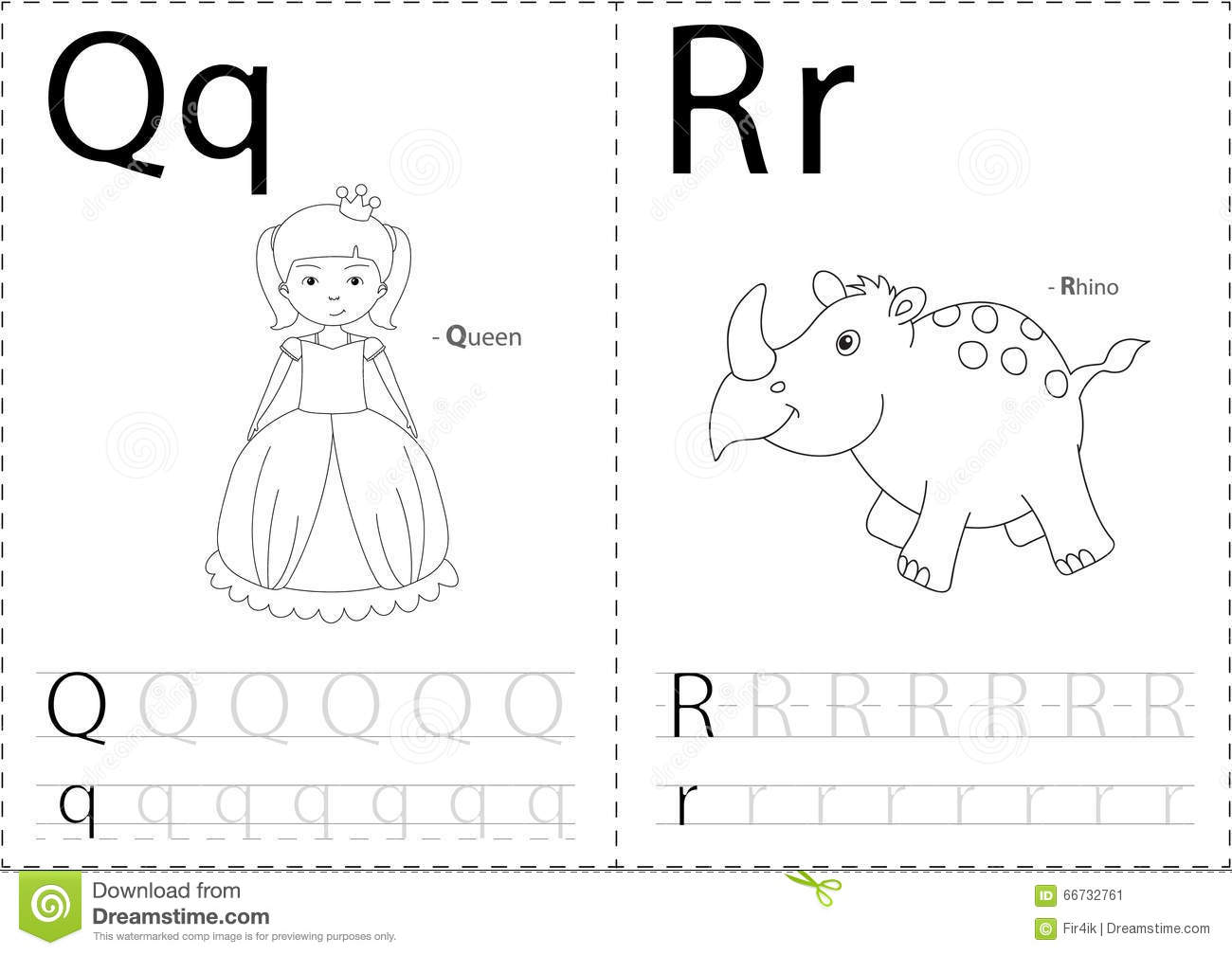 Cartoon Queen And Rhino. Alphabet Tracing Worksheet