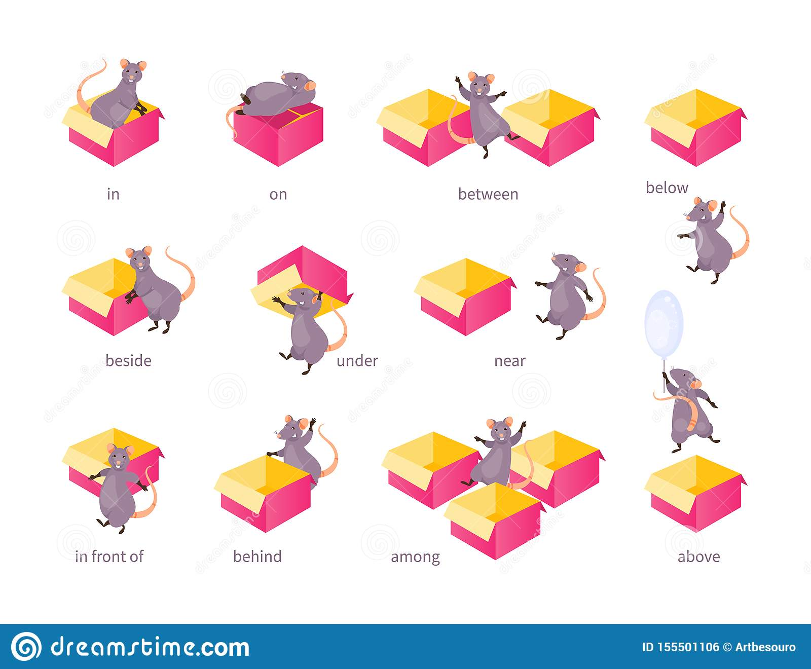 Prepositions Of Place Vector Stock Vector