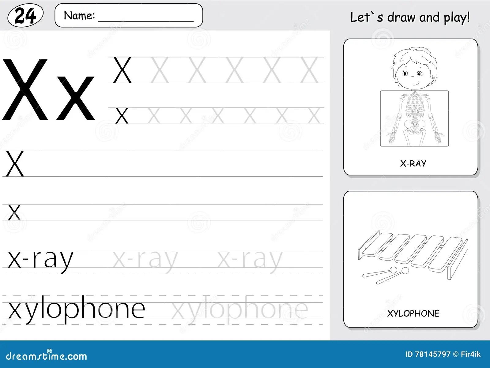 Cartoon X Ray Boy And Xylophone Alphabet Tracing