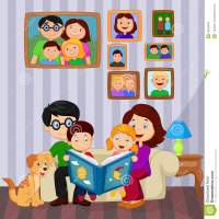 Cartoon Read A Story Book In The Living Room Stock Vector ...