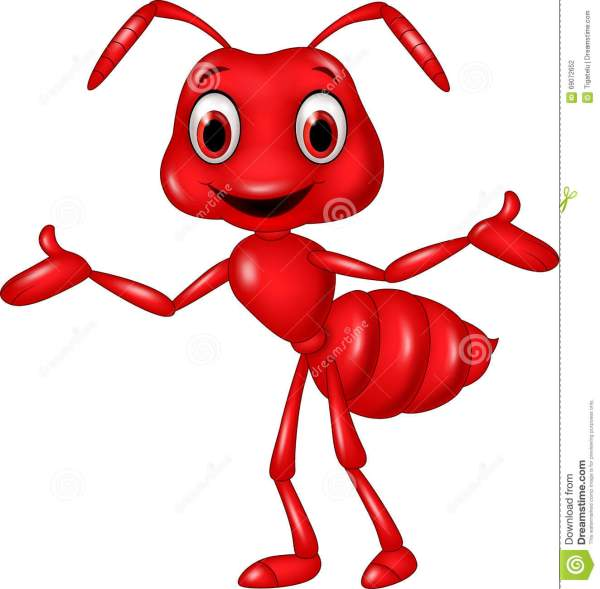 cartoon red ant waving white