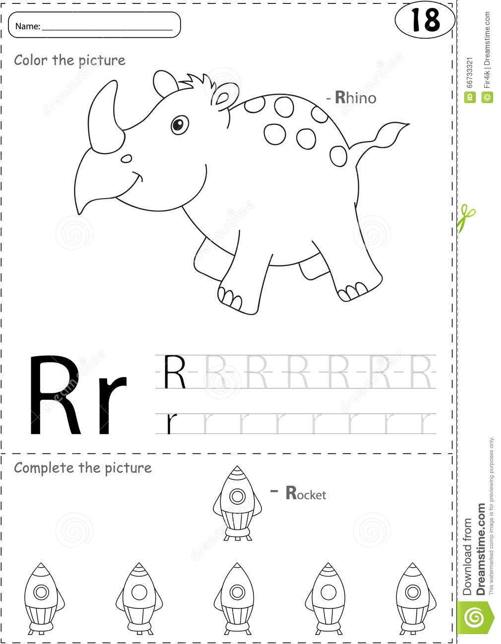 Cartoon Rhino And Rocket. Alphabet Tracing Worksheet
