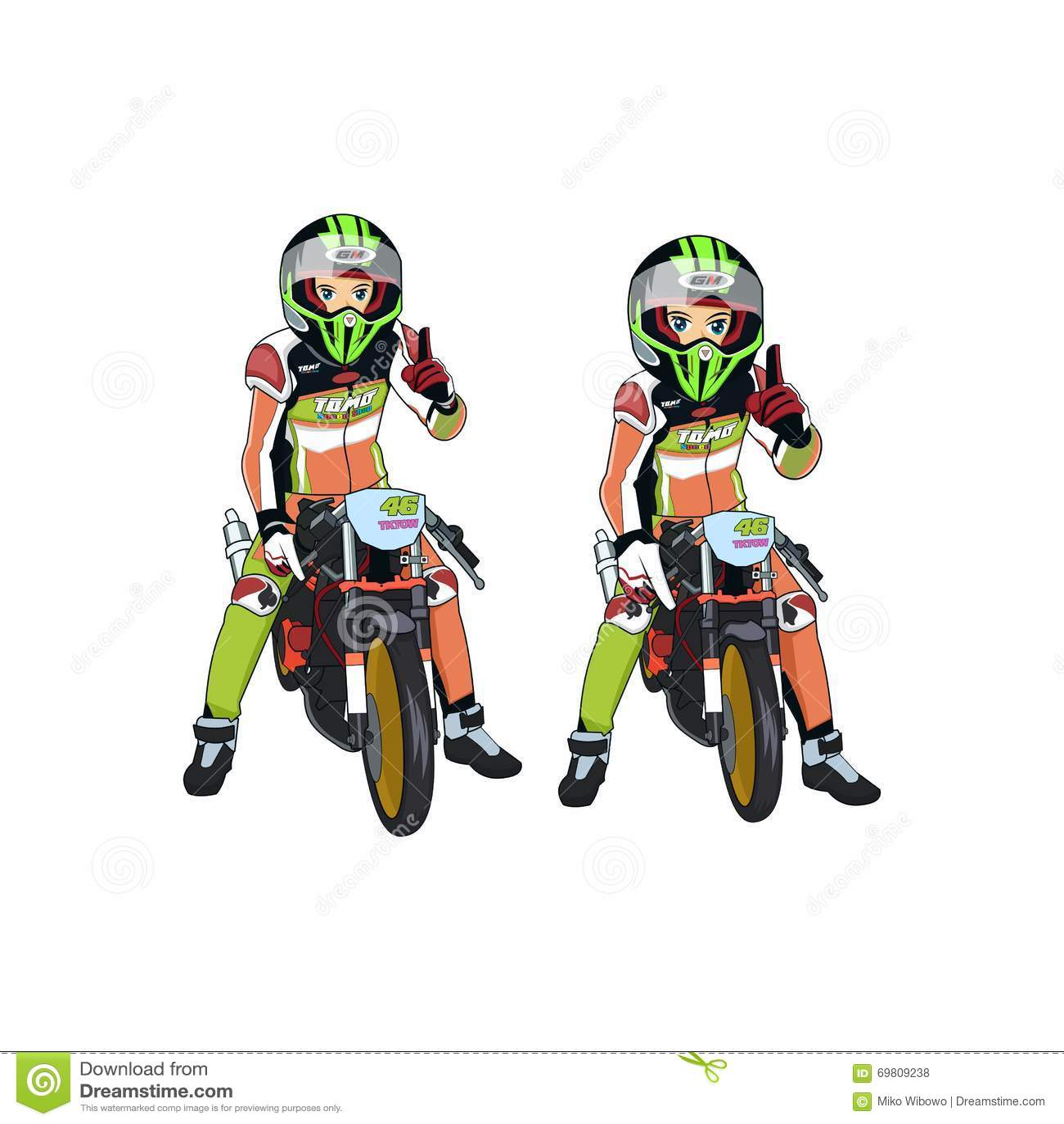 Cartoon Rider Motorcycle Racing Vector Stock Vector