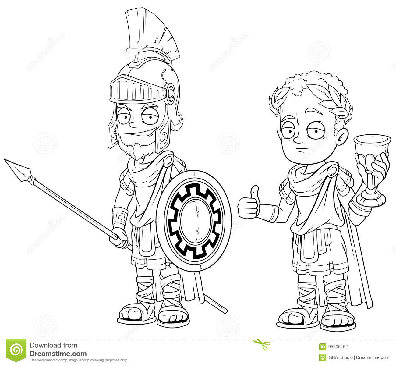 Cartoon Roman Imperator Sol R With Spear Character