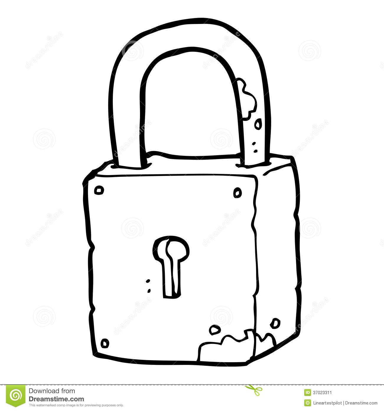 Cartoon rusty lock stock illustration. Illustration of