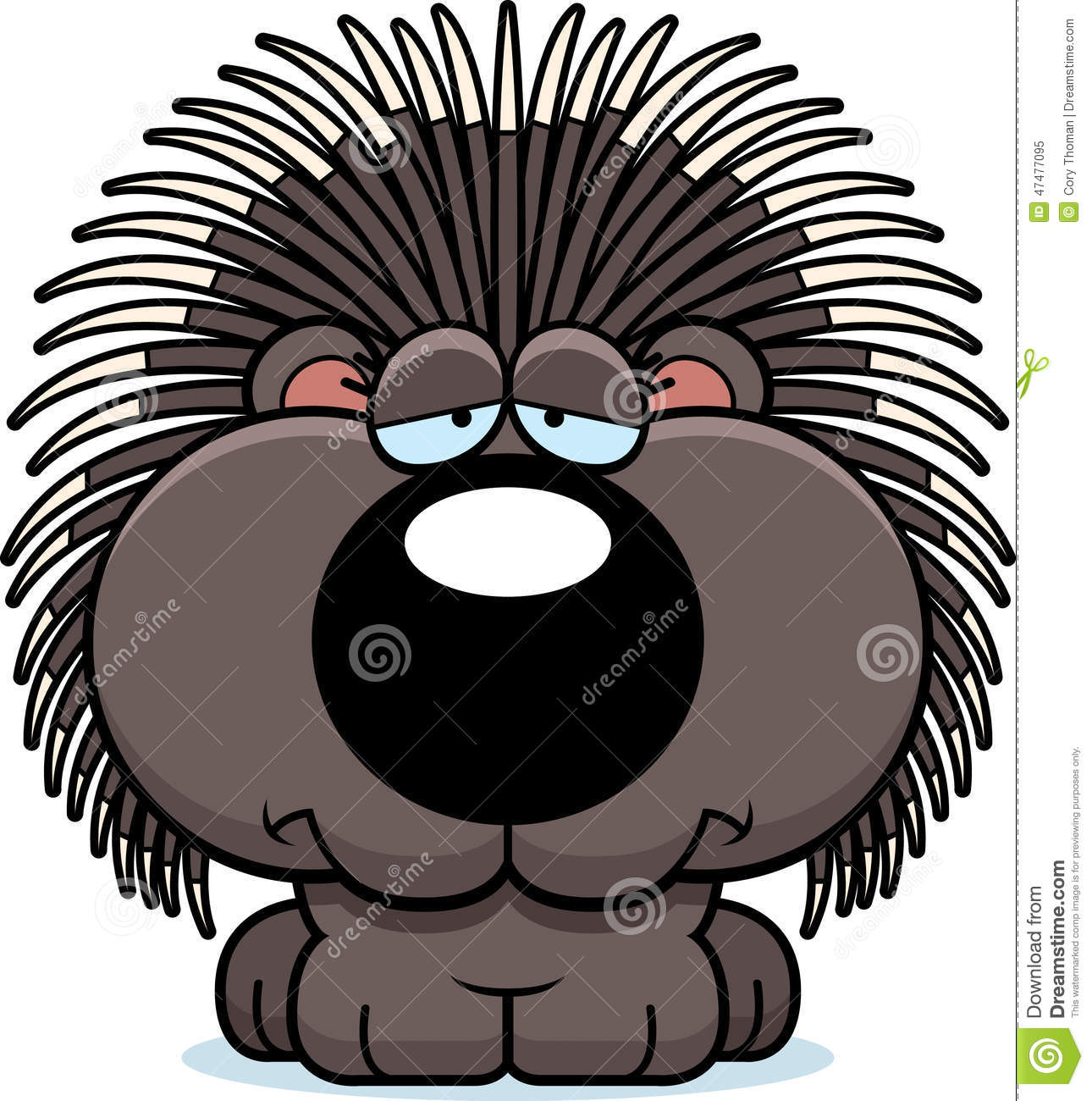 hight resolution of a cartoon illustration of a porcupine with a sad expression
