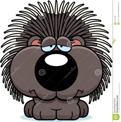 small resolution of a cartoon illustration of a porcupine with a sad expression