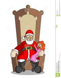 Cartoon Santa Claus With Little Girl At The Elbow-chair ...