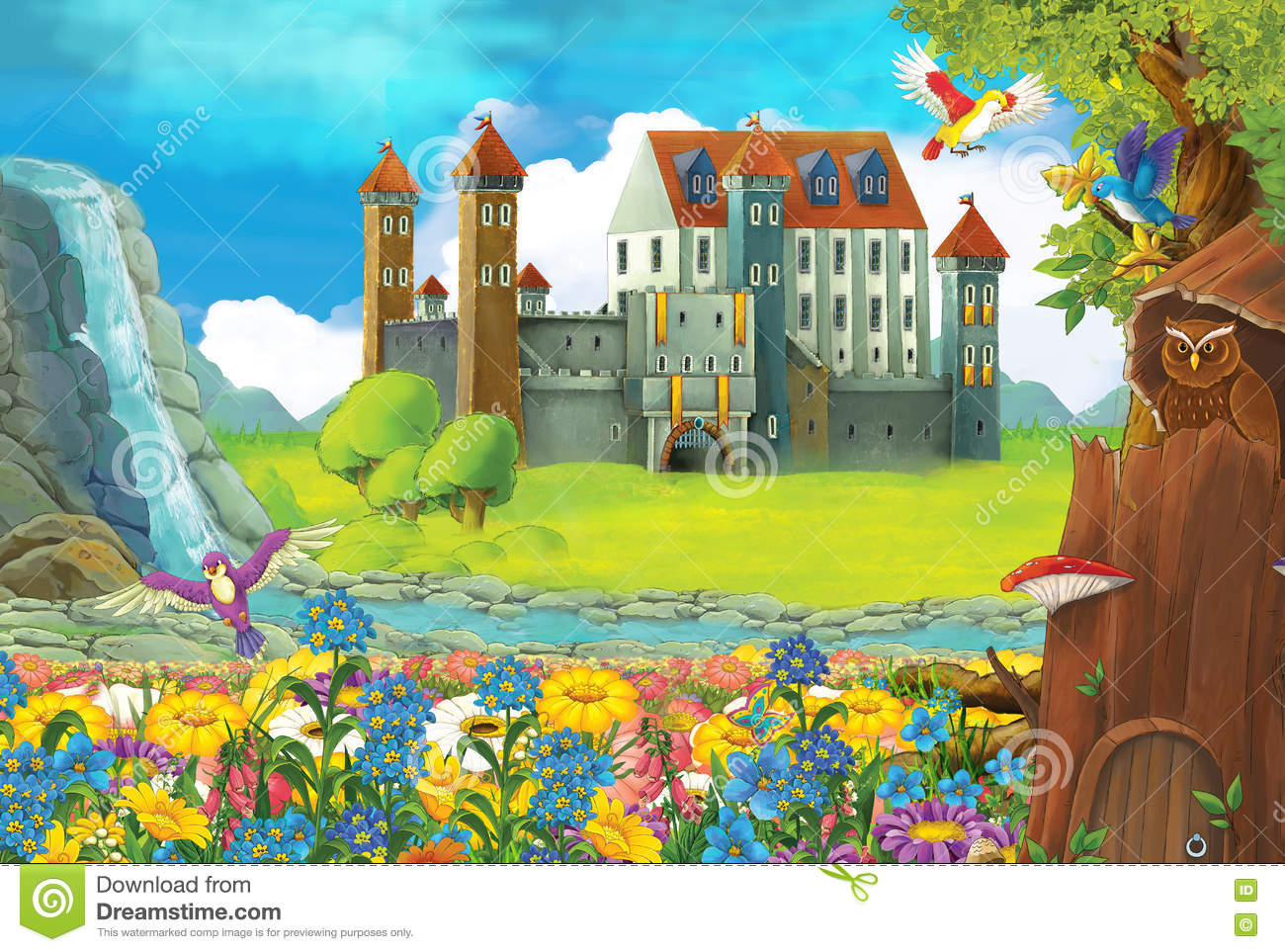 Cartoon Scene With A Castle And A Tree House In The Forest