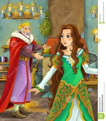 castle happy king cartoon lady scene kitchen talking young fairy father anime