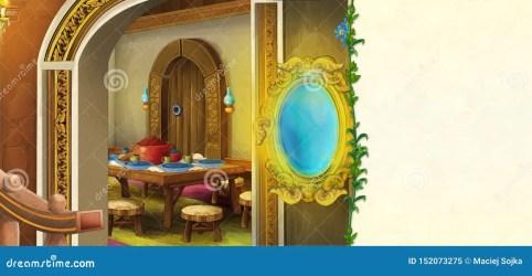 traditional scene frame space cartoon kitchen children entrance fairy