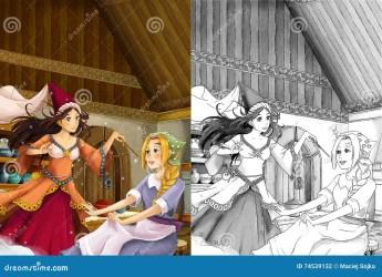 cartoon kitchen scene manga talking coloring traditional princess fairy two happy
