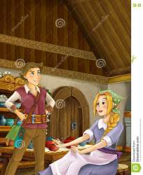 cartoon sister brother kitchen working young loving traditional couple scene preview