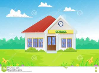 Cartoon School Building Vector Illustration