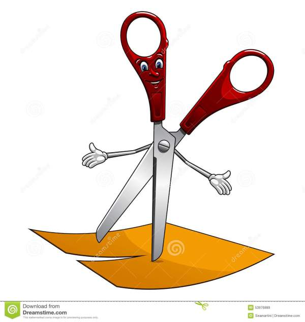Cartoon Scissors Cut Paper
