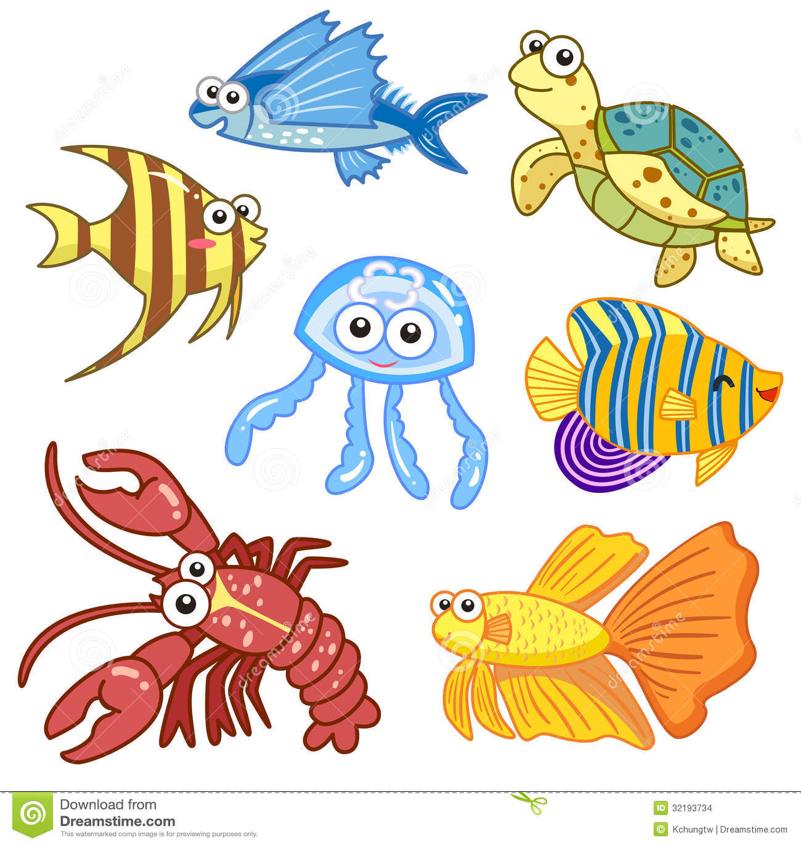 Cartoon Sea Animals Set With White Background Stock Vector