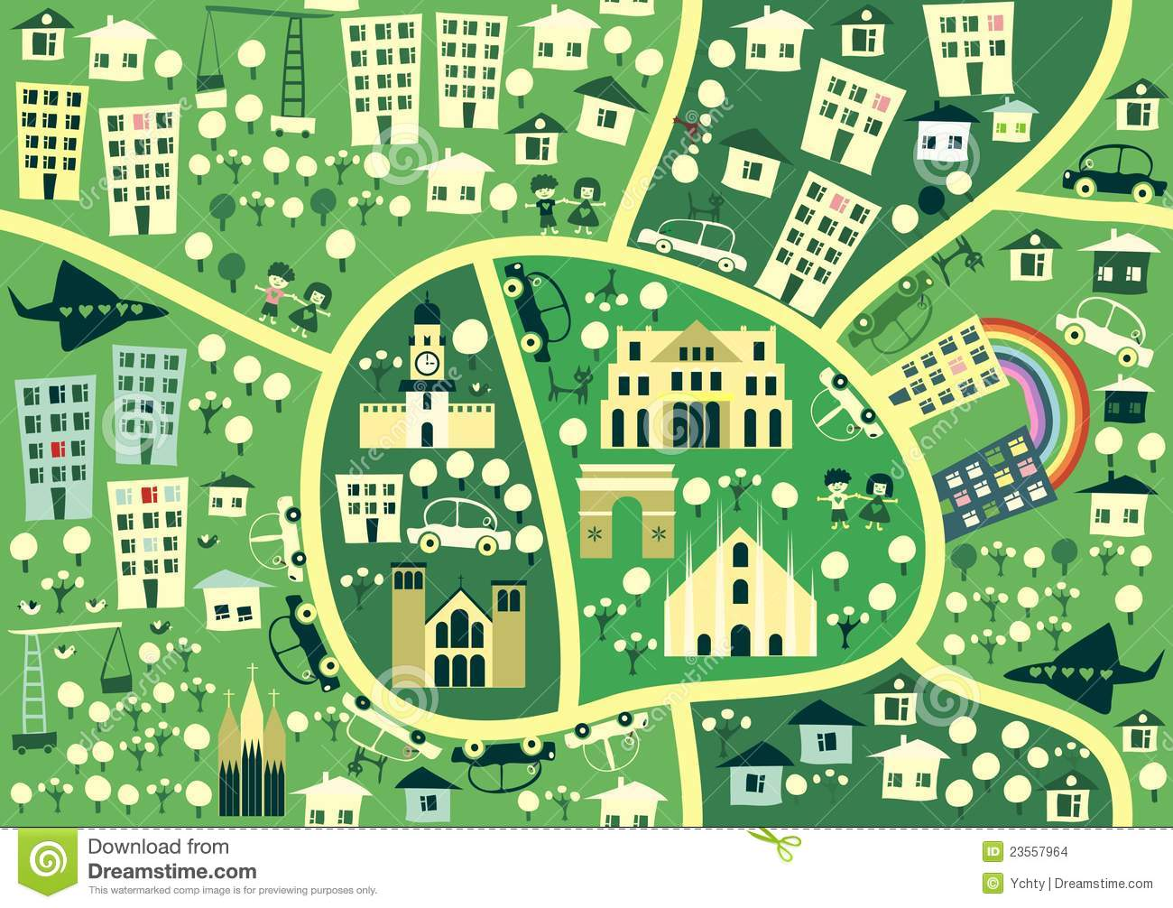 Cartoon Seamless Map Of Milan In Vector Stock Images