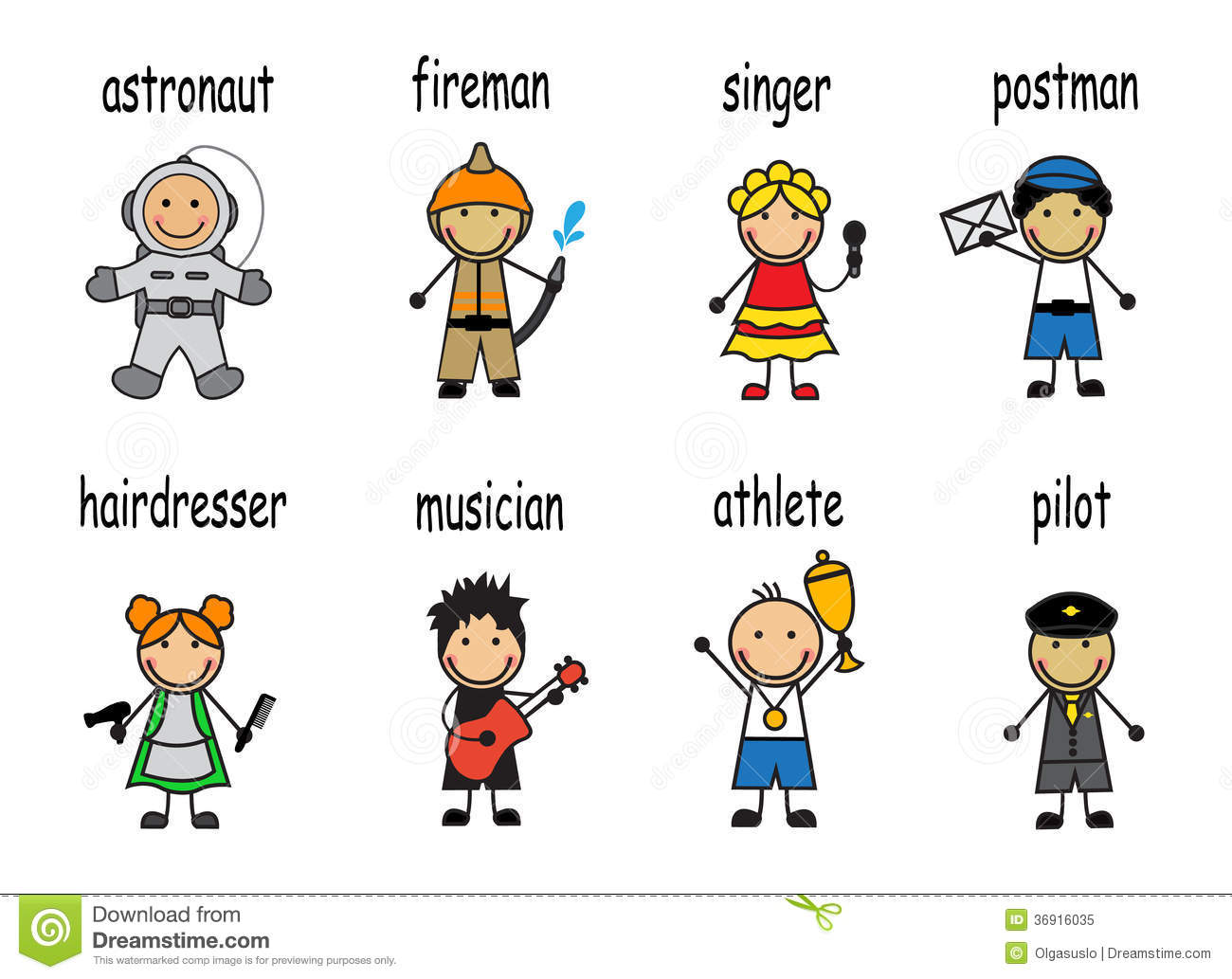 Cartoon Set People Of Different Professions Stock Vector