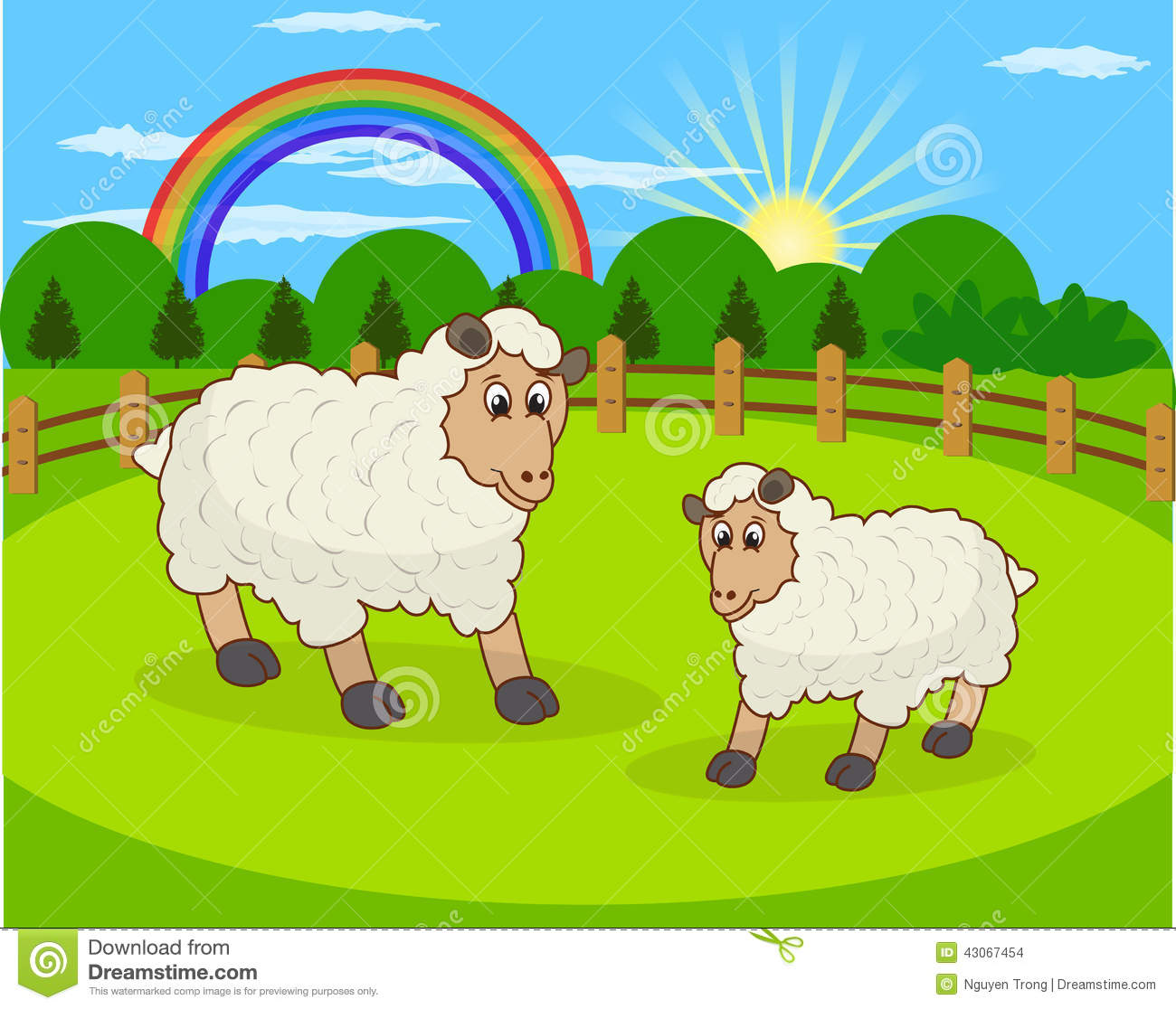 Cartoon Sheep And Rural Meadow With Green Grass On The