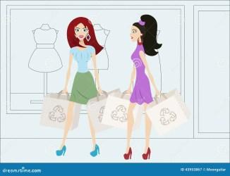 cartoon shopping window funny bags vector fumetto sacchetti ragazze spesa acquisto della reusable