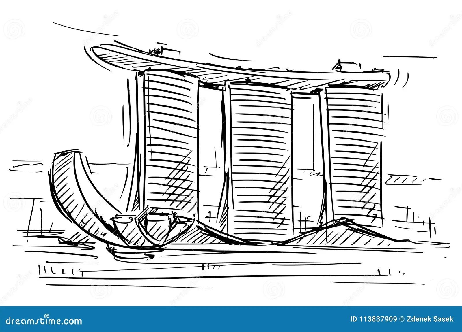 Cartoon Sketch Of The Marina Bay Sand Singapore Stock