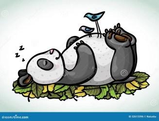 panda sleeping cartoon birds funny dirds dreamstime preview
