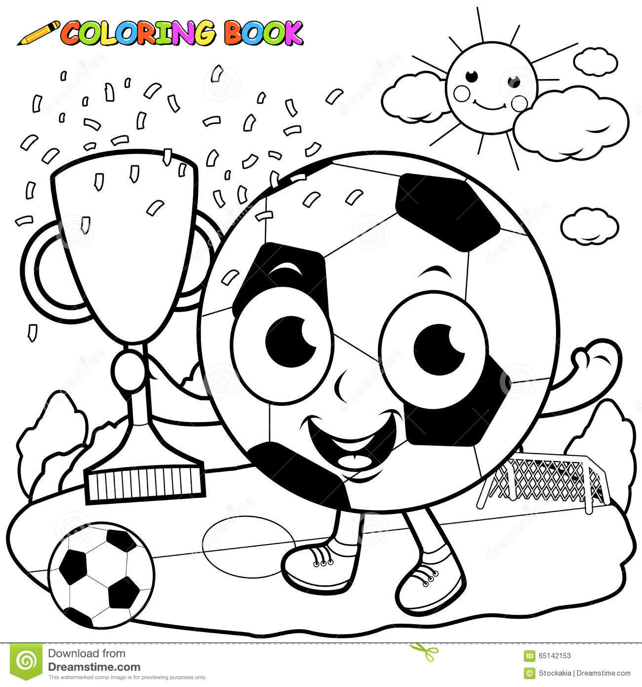 Cartoon Soccer Ball Holding Trophy Coloring Book Page