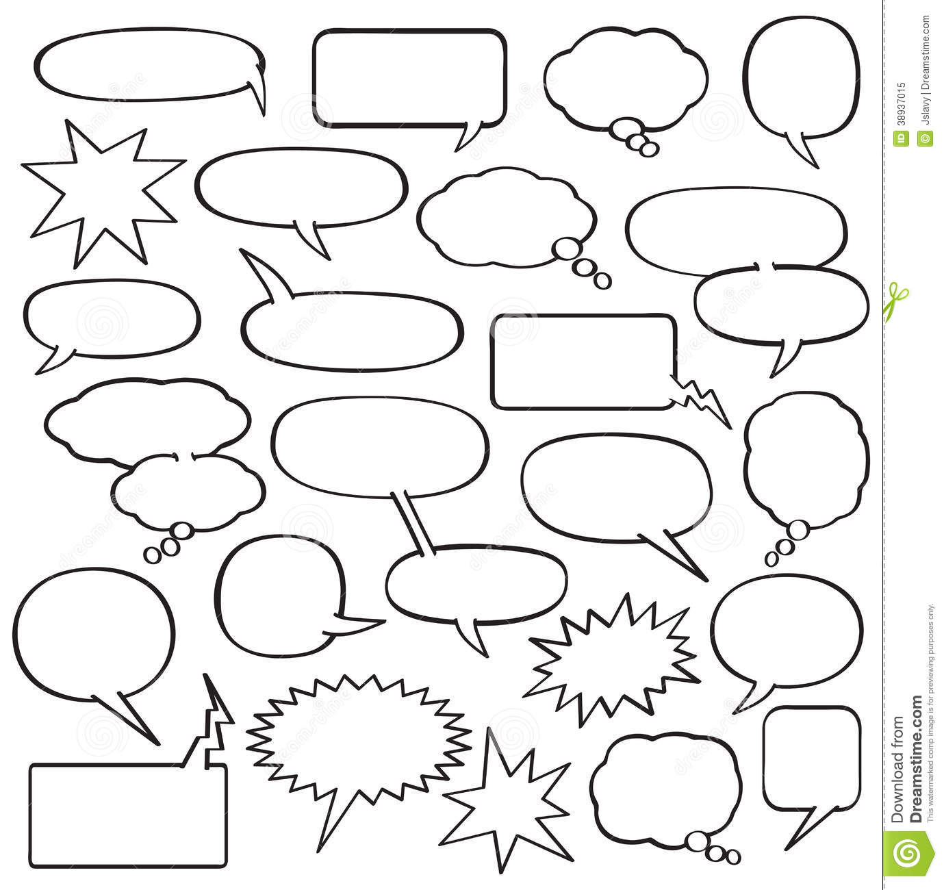 Cartoon Speech Bubbles Stock Vector Illustration Of Inked