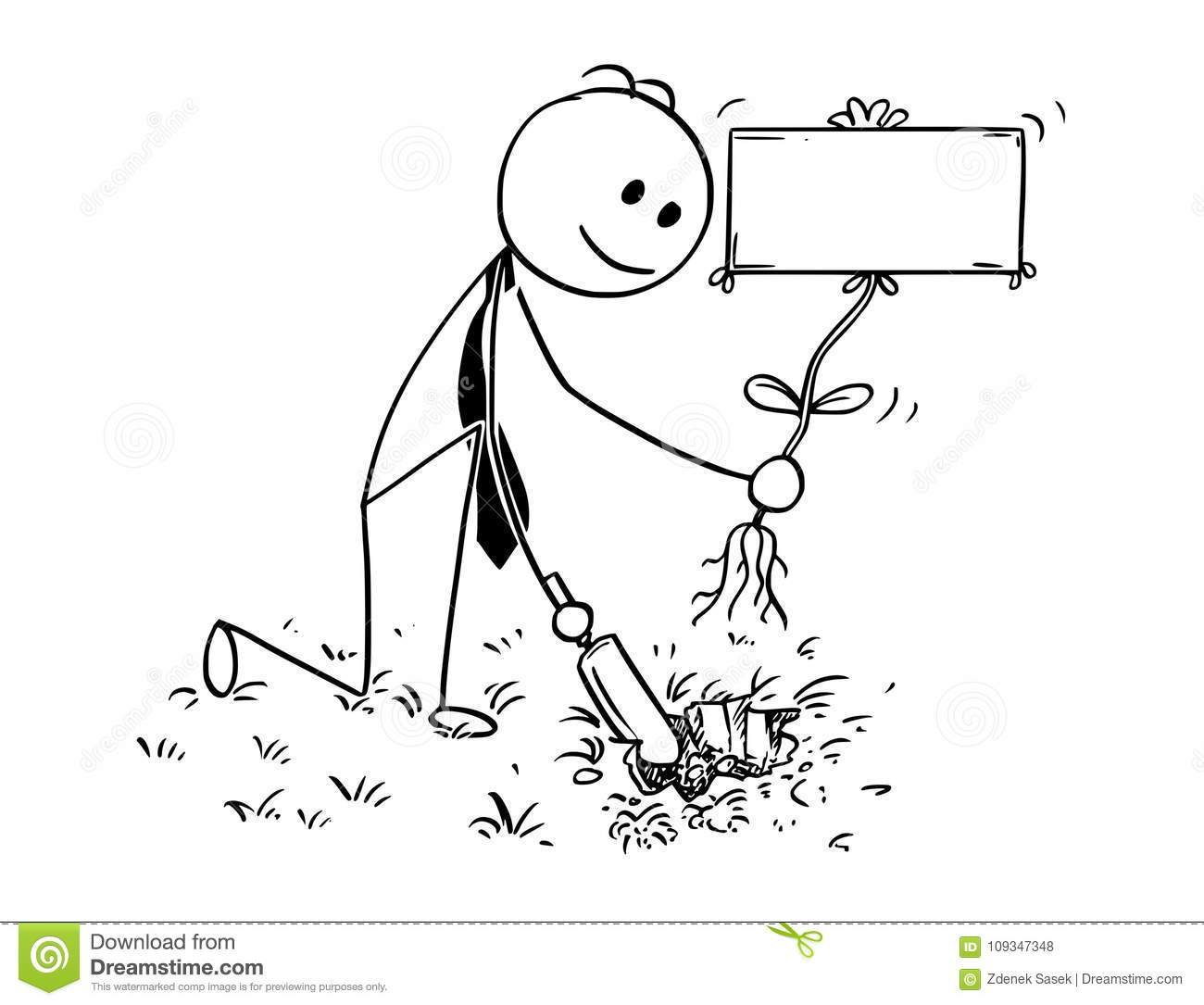Cartoon Of Businessman Digging A Hole For Plant With Empty