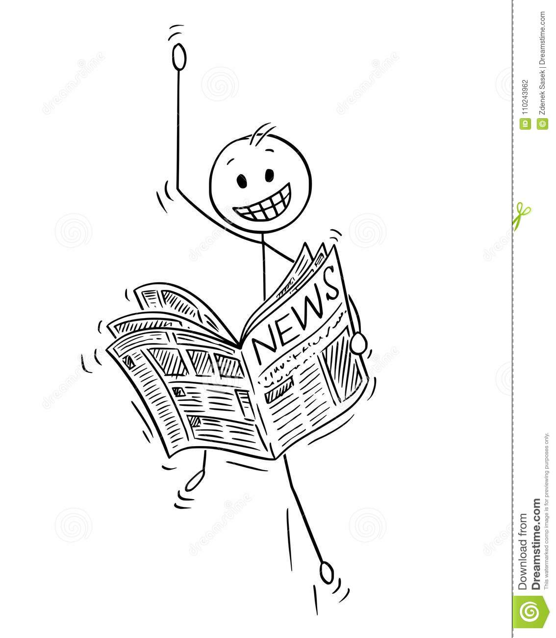 Cartoon Of Happy Businessman Reading Good News In