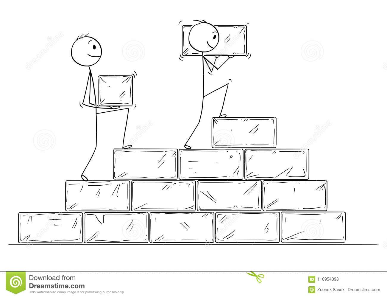 hight resolution of cartoon of two businessmen building staircase from big stone blocks