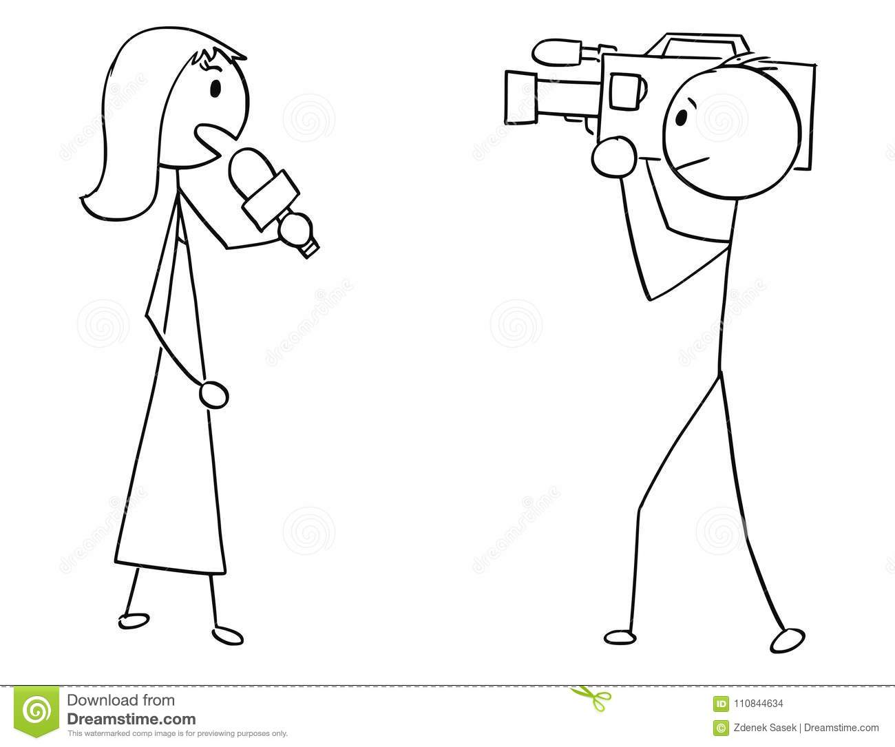 Cartoon Of Tv Or Television News Woman Female Reporter And