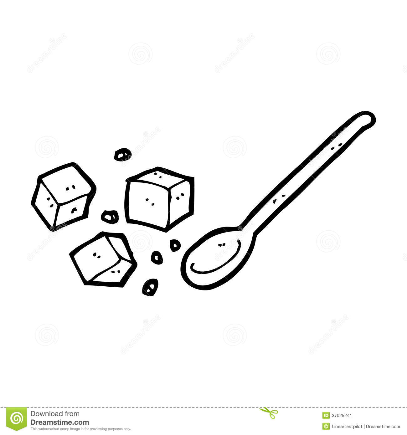 Cartoon Sugar Lumps And Spoon Stock Illustration