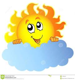 cartoon sun holding cloud [ 1300 x 1368 Pixel ]