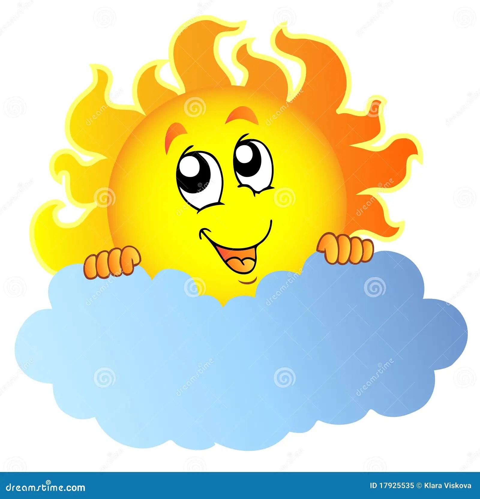 hight resolution of cartoon sun holding cloud