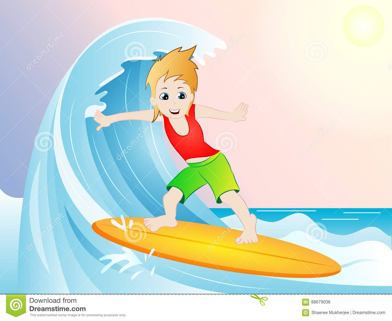 hight resolution of cartoon clipart vector illustration drawing of a surfer on surf boat with beautiful background