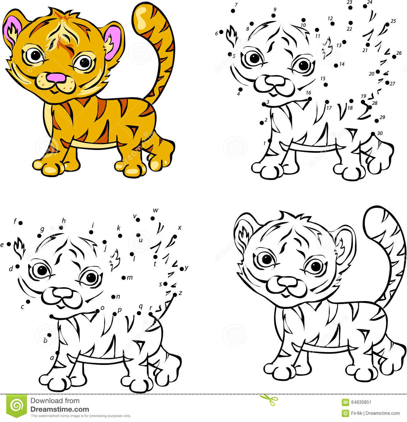 Cartoon Tiger Vector Illustration Coloring And Dot To