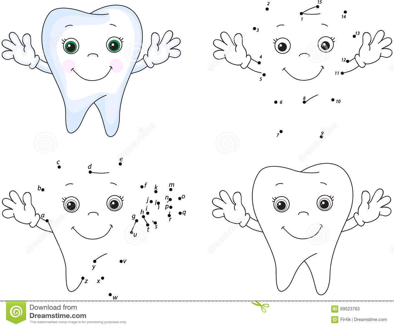 Cartoon Tooth Smiles Coloring Book And Dot To Dot Game