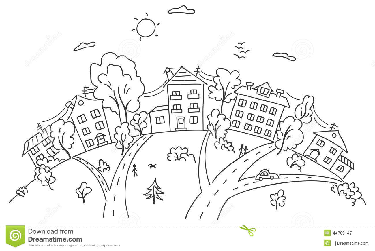 Cartoon Town On A Hill Stock Vector Illustration Of