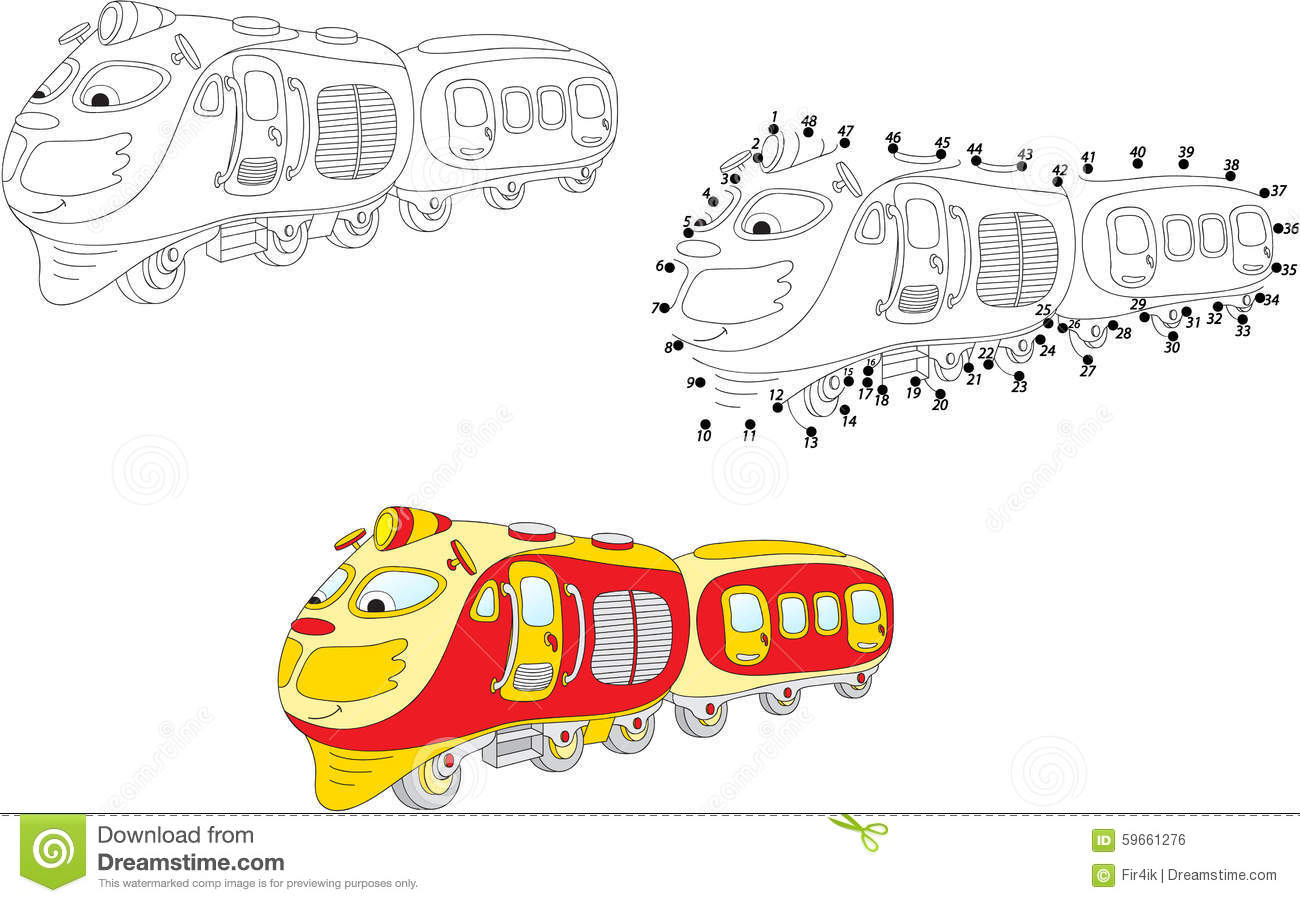 Cartoon Train Vector Illustration Coloring And Dot To
