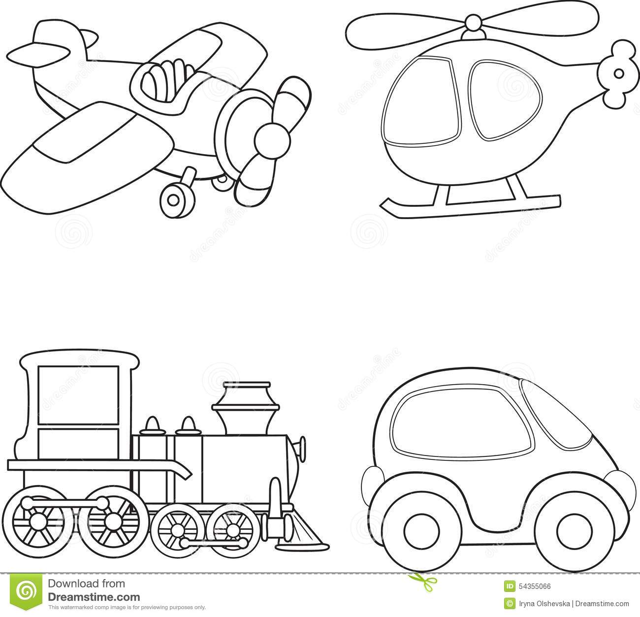 Cartoon Transport Coloring Book Stock Vector
