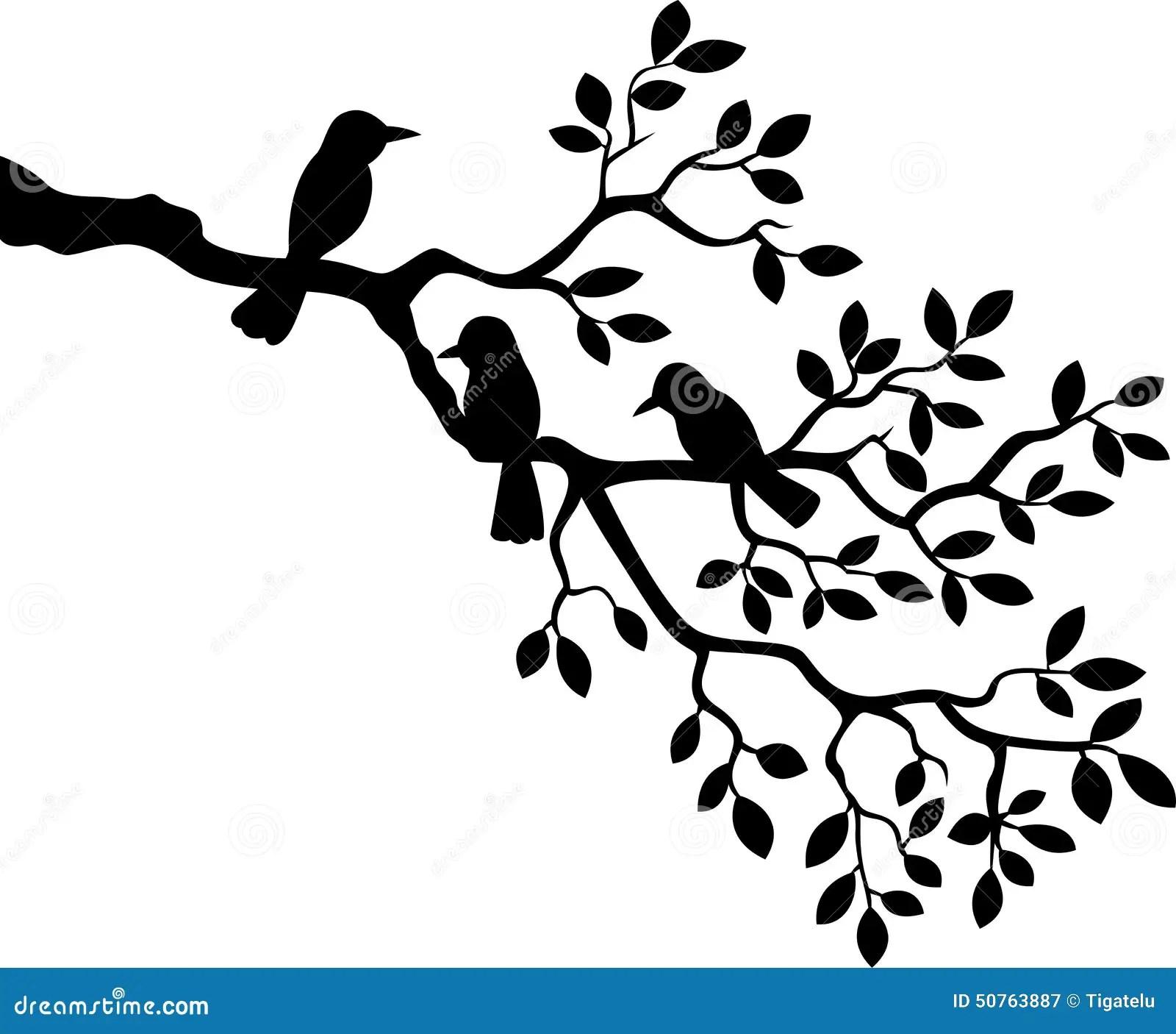 Cartoon Tree Branch With Bird Silhouette Stock Vector