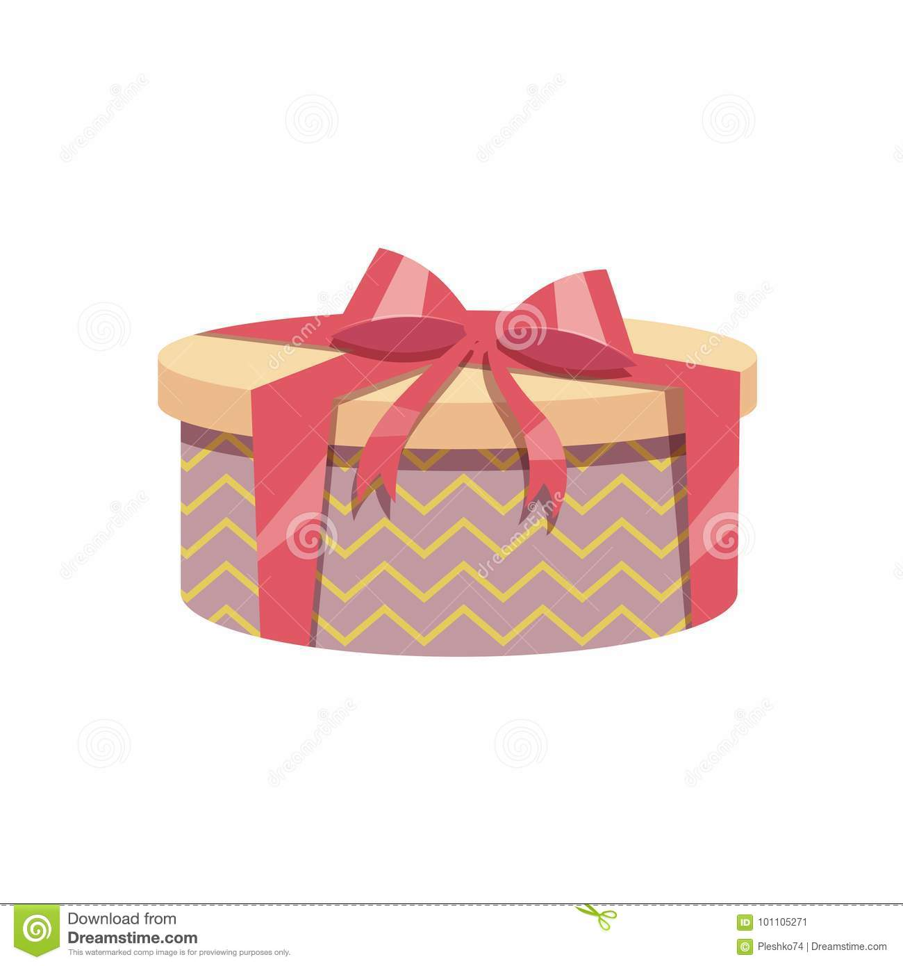 Cartoon Trendy Design Vintage Round Gift Box With Red Ribbon And Bow