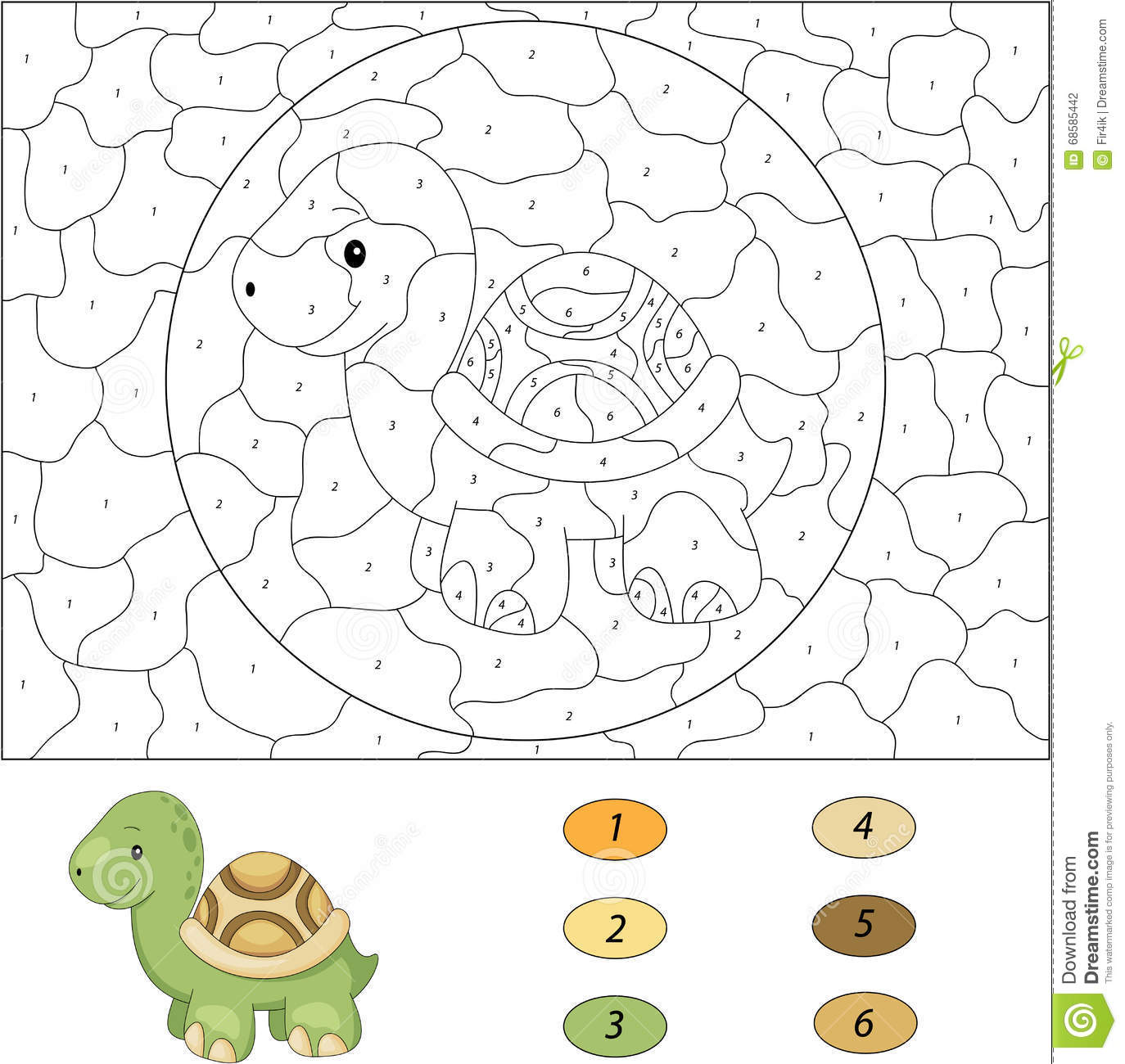 Cartoon Turtle Color By Number Educational Game For Kids