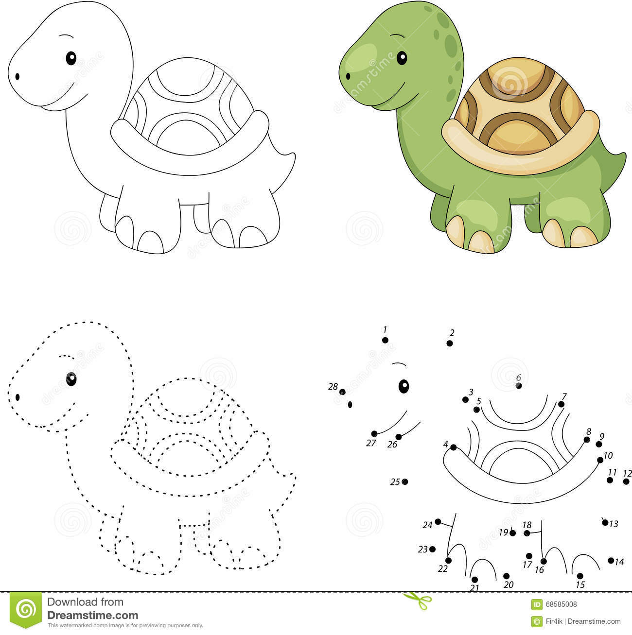 Cartoon Turtle Dot To Dot Game For Kids Stock Vector