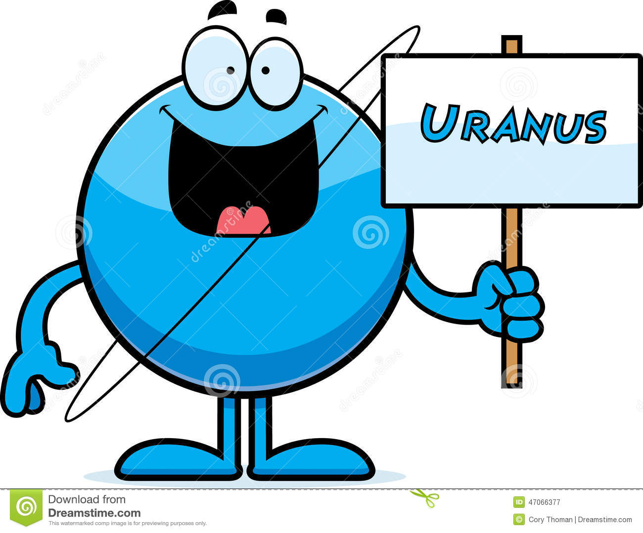 hight resolution of a cartoon illustration of the planet uranus holding a sign