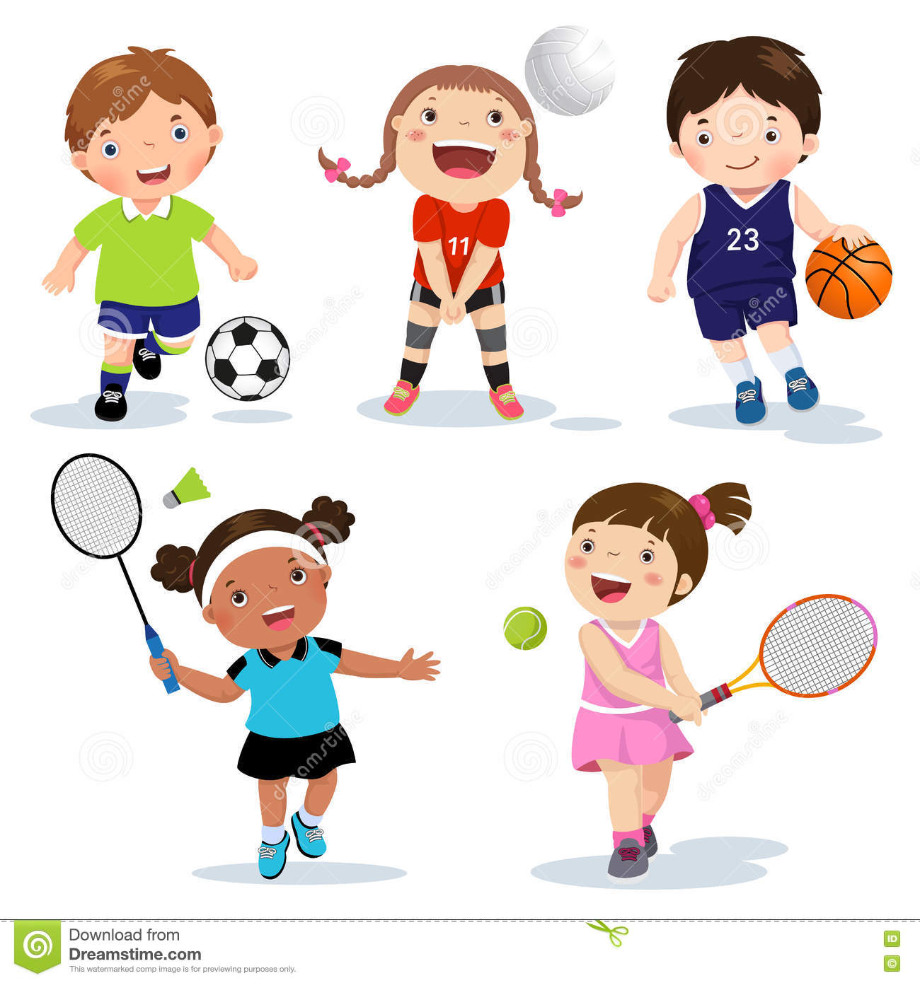 Cartoon Various Sports Kids On A White Background Stock Vector - Illustration of character. ball: 72378870