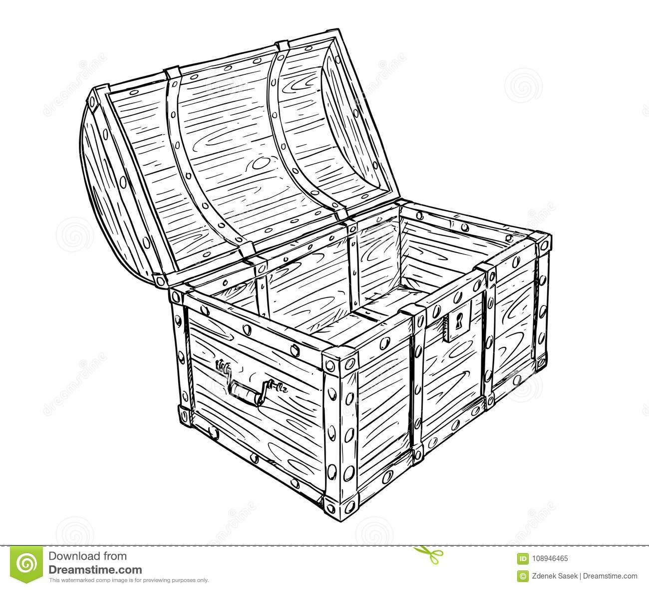 Cartoon Vector Drawing Of Old Empty Open Pirate Chest
