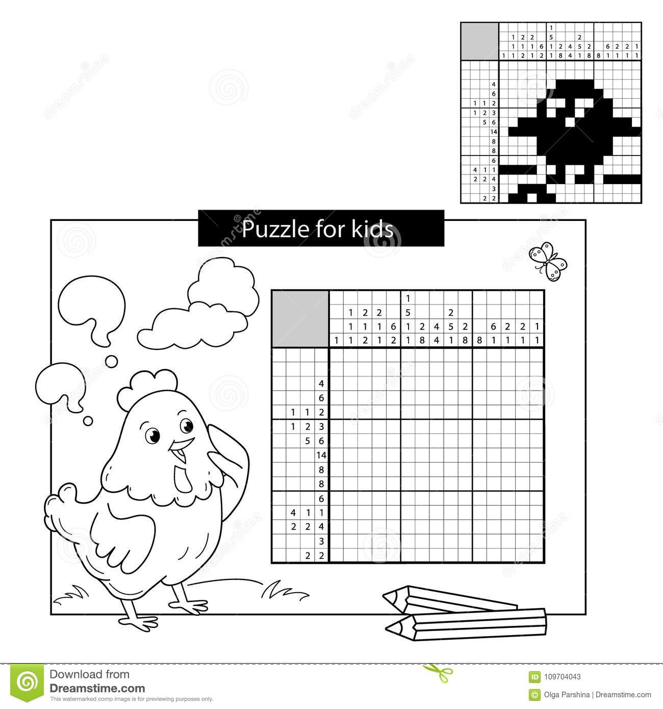 Puzzle Game For School Children. Chick With Worm. Black