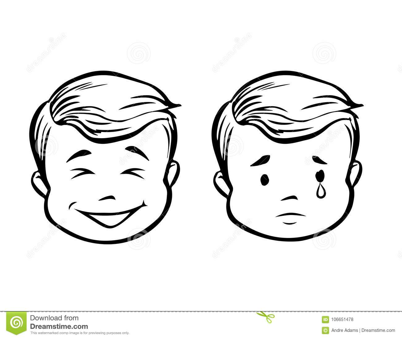 Boy Happy Sad Stock Vector Illustration Of Vector Young